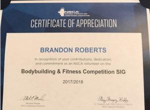 SIG Certificate Brandon Roberts NSCA Certificate