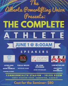 The Complete Athlete Seminar Alberta Powerlifting